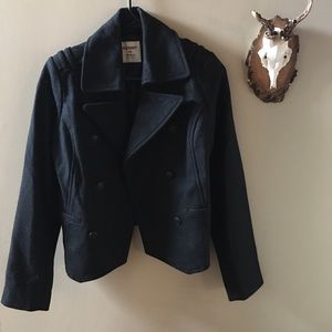 Old Navy Black Wool Military Style Coat